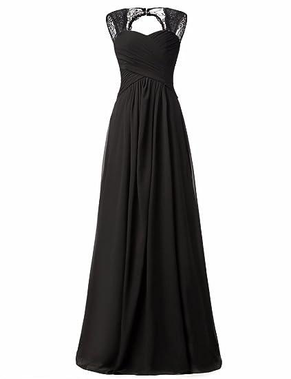 Verabeauty Black Chiffon Bridesmaid Formal Dress Open Back Illusion Straps  Evening Gown for Women Black Size daf4dbf2b