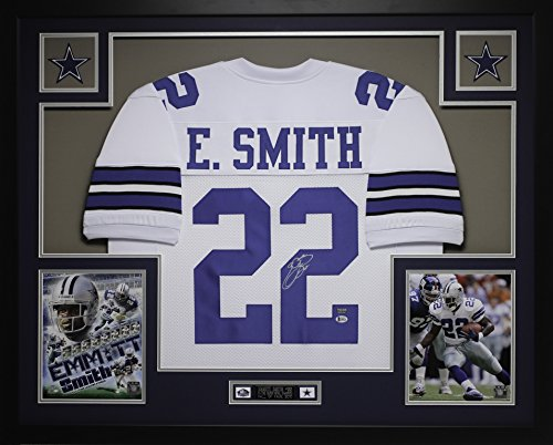 Emmitt Smith Autographed White Cowboys Jersey - Beautifully Matted and Framed - Hand Signed By Emmitt Smith and Certified Authentic by Auto Beckett COA - Includes Certificate of Authenticity