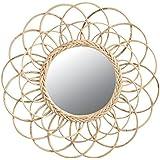 Miroir fleur en rotin Ø 54 Cm
