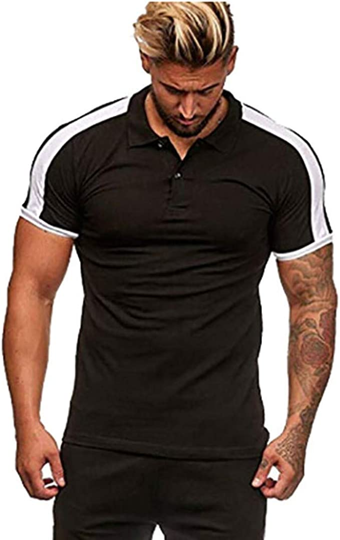HERW Mens Clothing Stripe Splicing Color Mens Short Sleeve Casual Polo Shirt