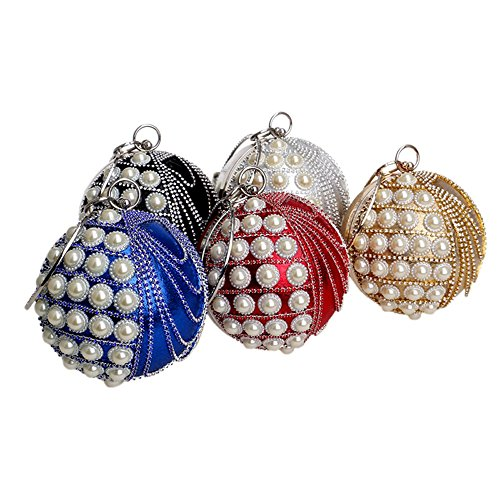KYS Côté Un Soirée Perles Strass Bourse Mariage Dame Ronde Embrayage silver Gland Cadeau De Diamants Sac Femmes Circulaire Conception RwHqP7rR