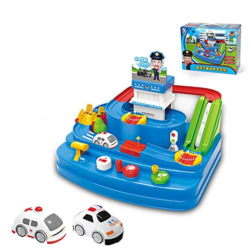 Escolourful Children Sliding Racing Toy Car Adventure Track Toy Multifunctional Rail Car Toy Cute Puzzle Car Inertial Elevator Taxi Track Toys for Kids, Boys and Girls