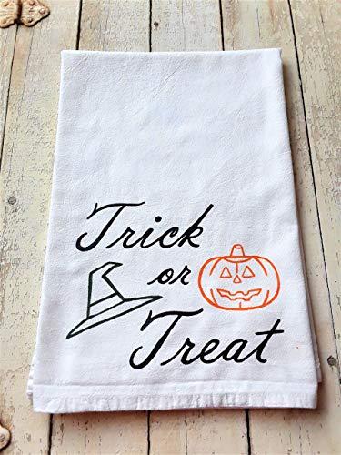 - Halloween Pumpkin Kitchen Decor, Hand Painted Flour Sack Kitchen Towel, Trick or Treat Saying