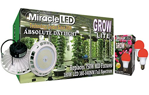 Miracle LED 604340 180W Full GrowLite + 9W Absolute Daylight Flower Power Grow Lite with Red, White
