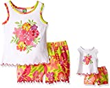 Dollie & Me Girls' Floral Print Tank with Printed Challis Shorts and Doll  Set