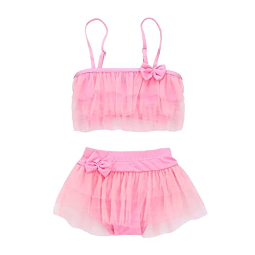 c2aa4b33453b WensLTD Clearance! Toddler Kids Baby Girl Striped Gauze Swimsuits Straps  Bow Romper Bathing Outfit (