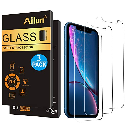 AILUN Screen Protector Compatible with iPhone XR (6.1inch 2018 Release),[3 Pack],0.33mm Tempered Glass, Compatible with iPhone XR (6.1inch 2018 Release),Anti-Scratch,Advanced HD Clarity Work Most Case