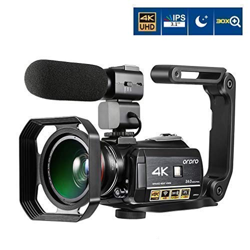 Ordro AC3 4K Camcorder 3.1 IPS Ultra HD WiFi Video Camera (Black)