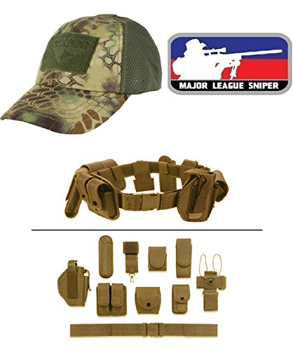 Cap Mesh Kryptek Mandrake + MAJOR LEAGUE SNIPER RED + Tan Duty Belt (Mandrake Halloween Costume)