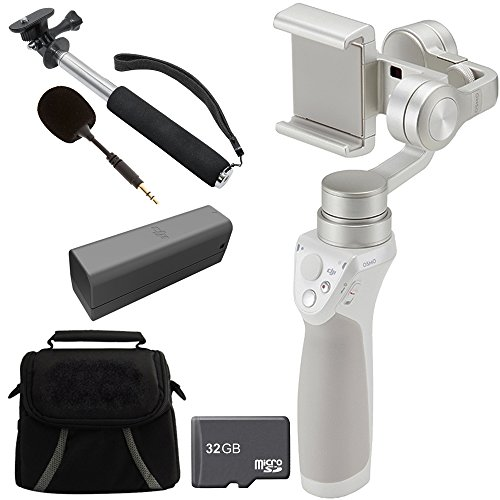 DJI Osmo Mobile Gimbal Stabilizer Bundle with Part7 Intelligent Battery, Part 44 FM-15 Flexi Microphone, Deluxe Gadget Bag, 43-Inch Selfie Stick and 32 GB Micro SD Card for Smartphones by DJI