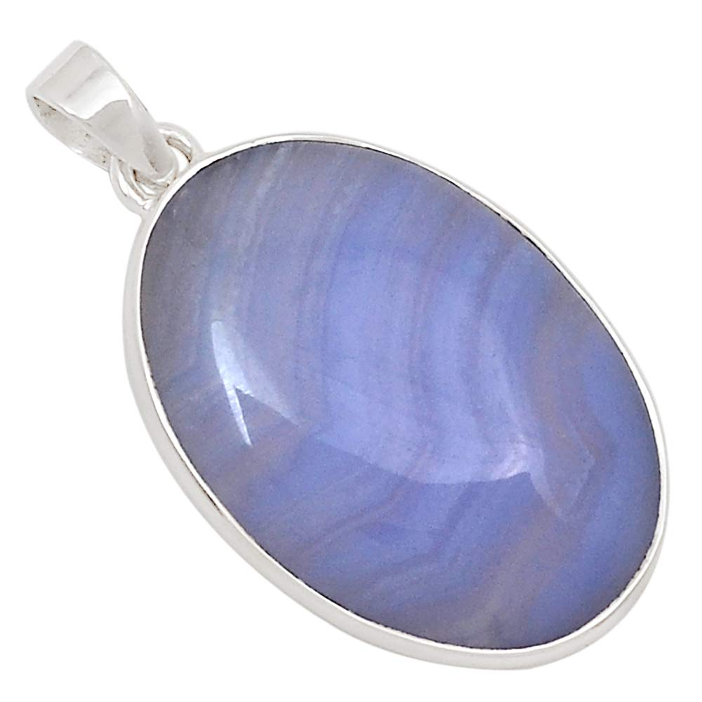 Xtremegems Blue Lace Agate 925 Silver Pendant Jewelry 1 1//2 26887P