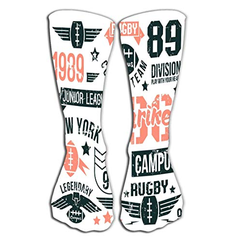 Outdoor Sports Men Women High Socks Stocking Badges Set College Rugby Team Retro Vintage Style Graphic Design Color Print White Background Tile Length 19.7