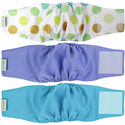 Washable Male Dog Diapers (Pack of 3),Reusable Male Dog Wrap, Durable Doggie Belly Bands by IN HAND (Durable Washable)