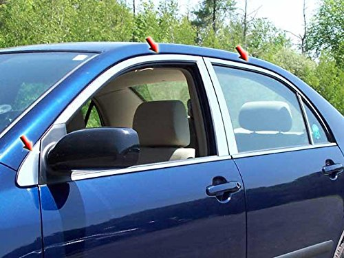 - QAA FITS COROLLA 2004-2008 TOYOTA (6 Pc: Stainless Steel Window Trim Package w/Upper Trim only, NO pillar trim, 4-door) WP24113