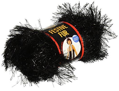 Lion Brand Yarn 570-153 Festive Fur Yarn, Black
