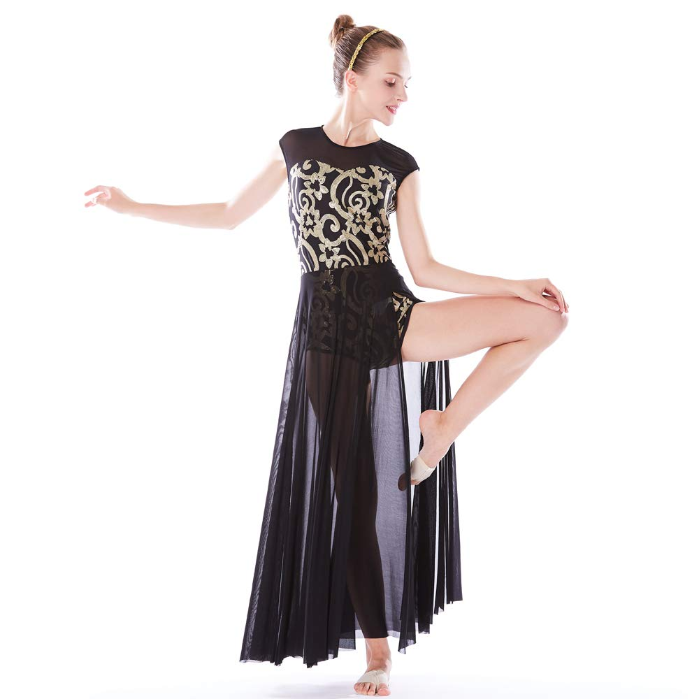 MiDee Lyrical Dress Dance Costume 4 Colors Floral Sequin Tank Leotard Maxi Skirt (XLA, Black) by MiDee