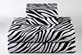 Linenaffairs Supreme Quality Zebra Animal Print 4 PCs Sheet Set {(1) Fitted Sheet{+18'' Pocket Depth},(1) Flat Sheet & (2) Pillow cover} Twin-XXL Size 650-Thread-Count