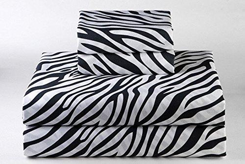Linenaffairs Supreme Quality Zebra Animal Print 4 PCs Sheet Set {(1) Fitted Sheet{+18'' Pocket Depth},(1) Flat Sheet & (2) Pillow cover} Twin-XXL Size 650-Thread-Count by Linenaffairs