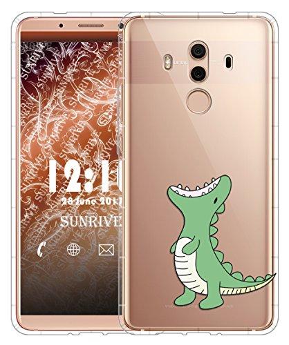 Funda Para Huawei Mate 10 Pro 6,0 pulgadas, Sunrive Silicona Slim Fit Gel Transparente Carcasa Case Bumper de Impactos y Anti-Arañazos Cojín de aire Espalda Cover(tpu Flor rosa) tpu Dinosaurio