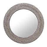 NOVICA Decorative Glass Wall Mounted Mirror, Metallic Brass, 'Shimmery Allure'