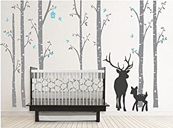 Birch Decal With Buck, Seven Birch Trees Decals, Buck Decal, Nursery Birch  Trees