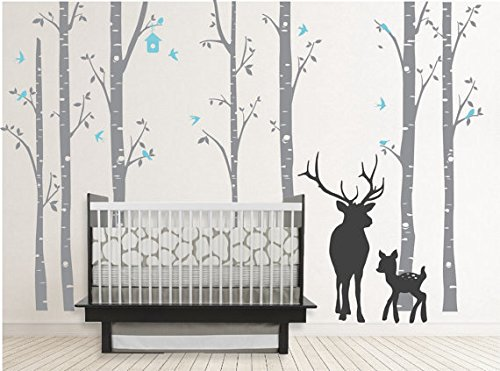 Birch Decal with Buck, Seven Birch Trees Decals, Buck Decal, Nursery Birch Trees,christmas Deer Tree Decal,wall (Birch Tree Deer Wall Decal)