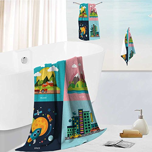 Cotton Hill Curtain (aolankaili Luxury Hotel Bath Towel Set - 3 Pieces Countryside Mountains and Hills The Rocket Space City Big Houses Four Story Flat Style 100% Turkish Soft Cotton)