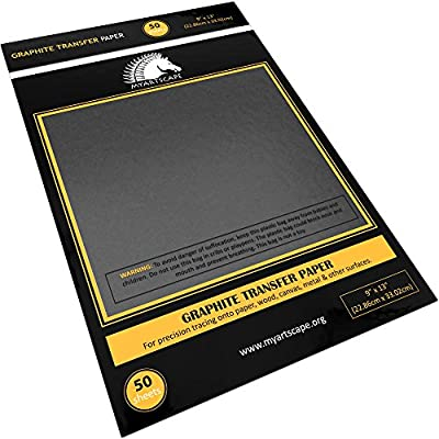 "Graphite Transfer Tracing Carbon Paper - 50 Sheets - 9"" x 13"" - MyArtscape (Black)"