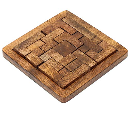 SKAVIJ Handmade Jigsaw Pentominoes Puzzle 13 Pieces Wooden Toys and 3D Brain Teasers Educational Games Gift