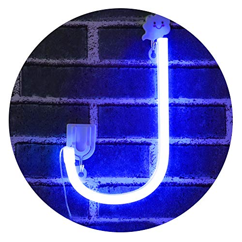 Obrecis LED Light Up Marquee Signs Neon Lights, Neon Signs Night Lights Letter Lamp for Wall Decor, Christmas, Birthday Party, Home Decorations -Blue Letter J