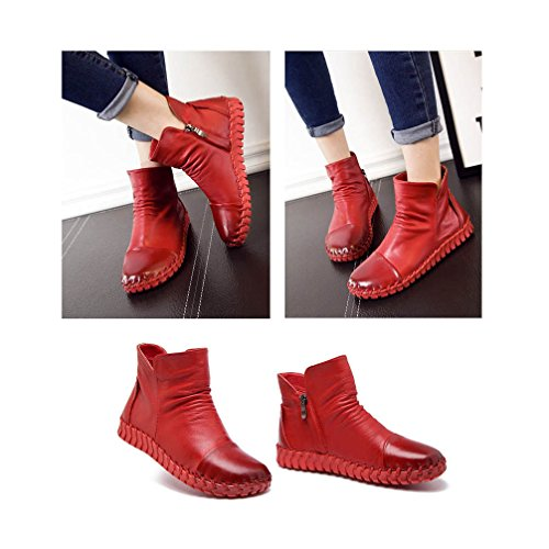 Red Sewing faux Snow Hand Cow Shoes Lined High Genuine UPSUN fur Bootie Boots Ankle Women's Leather q7TS78