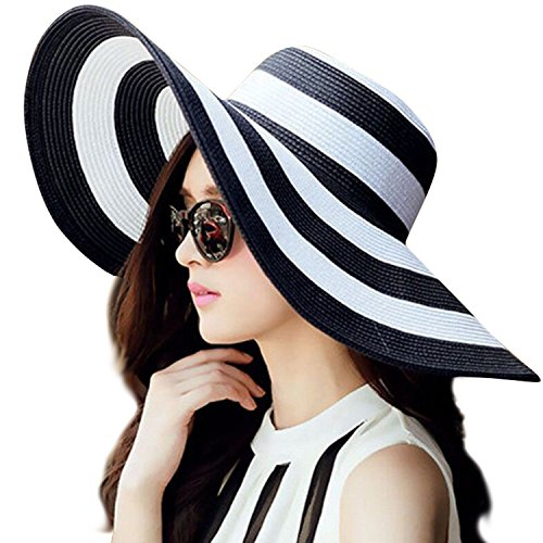 JOYEBUY Women's Floppy Big Brim Hat Bowknot Straw Hat Foldable Roll up Beachwear Sun Hat UPF 50+ (Black Stripe) Stripe Straw Hat