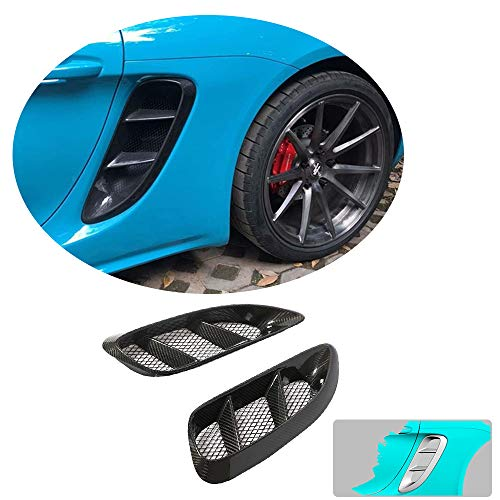 MCARCAR KIT Rear Fender Scoop fits Porsche 718 Boxster Cayman 2016 2017  2018 Real Dry Carbon Fiber CF Air Duct Intake Vent Trim Dam Trimming Cover