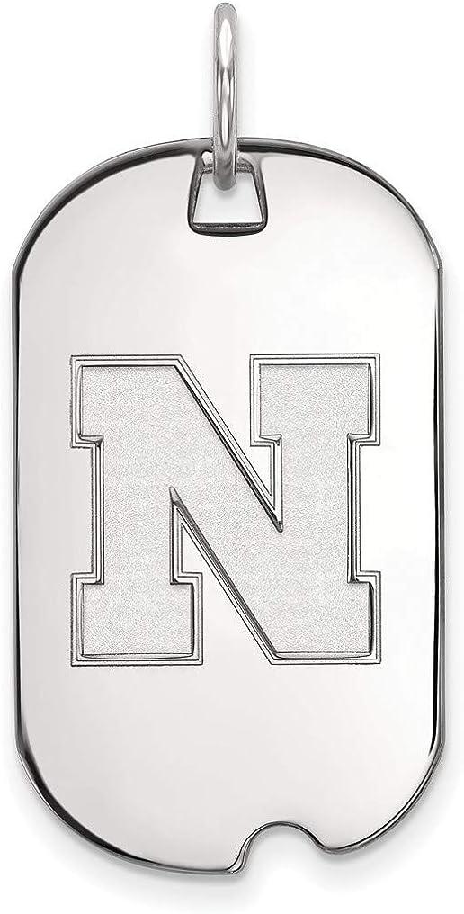 Sterling Silver University of Nebraska Small Dog Tag by LogoArt SS054UNE