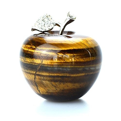 Carved Tiger - Yuanxi Natural Crystal Carved Apple Figurine Statue with Alloy Leaf Healing Stone for Gifts Craft Decoration 1.7Inch Diameter (Tiger's eye)