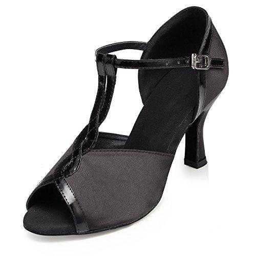 TDA Womens T-Strap Peep Toe Satin Latin Dance Shoes Tango Party Wedding Sandals Black 1Y8H4
