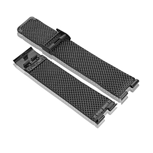 Bradychan® Band Steel Stainless Watchband Bracelet Metal Wire Thick Mesh Steel Fold Over Buckle Strap Fit for Moto 360 Smartwatch Motorola 360 Watch Band Black and Silver (black)