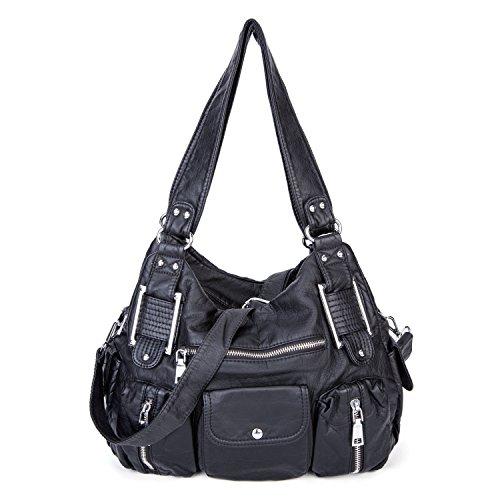 Shoulder Bag Purse Soft Large Capacity Tote Bag Washed PU Leather Cross Body Handbag for Women (Black) by Genold