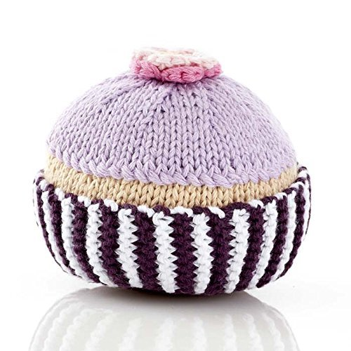 Hand Made Rattle Pebble Fair Trade Cupcake with Lilac Icing and Flower Hathay Bunano p.s.