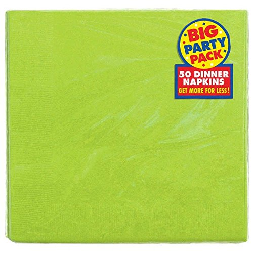 Amscan Big Party Pack Festive Dinner Napkins Tableware, 50 Pieces, Made from Paper, Kiwi Green (Kiwi Beverage Napkins)