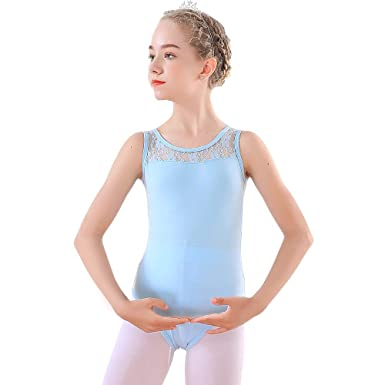 becf71f9c9b4 Soudittur Blue Tank Leotards for Toddler Girls Ballet Dance Gymnastics  Costume with Lace Neckline and Sleeveless