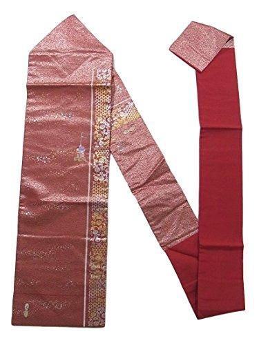 反響する百年後方リサイクル 名古屋帯 刺繍 金銀彩 山鉾と菊 正絹
