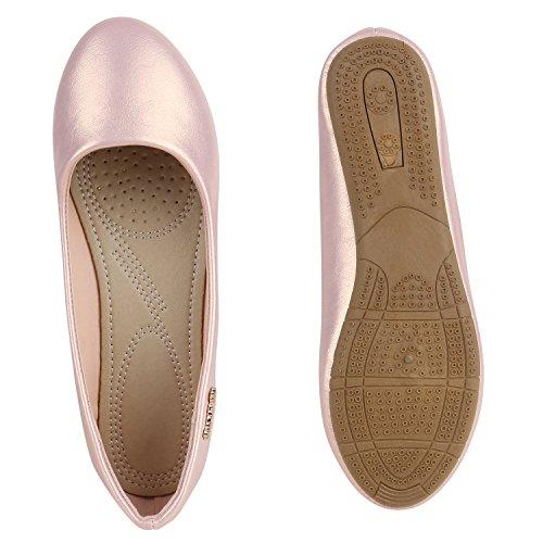 Klassische Damen Ballerinas Leder-Optik Flats Schuhe Übergrößen Flache Slipper Spitze Prints Strass Flandell Rosa Metallic