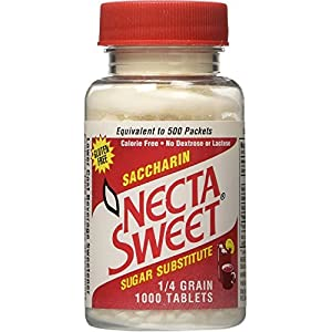 Necta Sweet Saccharin Sugar Substitute 1/4 Grain 1000 Tablets
