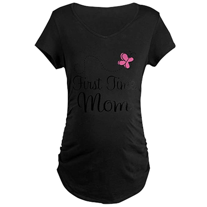 6f7cfb5c978bc CafePress First Time Mom Pink Butterfly Cotton Maternity T-Shirt, Side  Ruched Scoop Neck