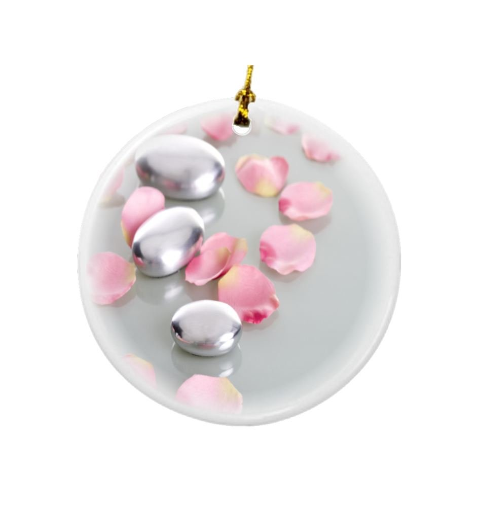 Rikki Knight Spa Stones with Rose Petals Design Round Porcelain Two-Sided Christmas Ornaments
