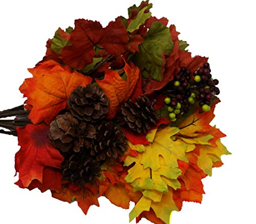 Harvest Fall Leaves with Pine Cone Berry Accent 6 Stem 14in (Set of 5) Leaf Floral Decor Arrangement Craft - Fall Arrangement Floral