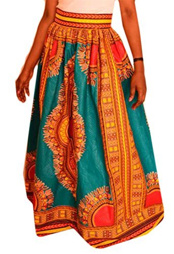 Pivaconis Womens Ethnic High Rise Africa Print Dashiki Swing Long Skirts Orange 4X-Large by Pivaconis