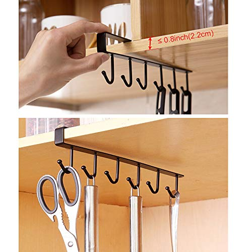 EigPluy 2pcs Mug Hooks Cups Wine Glasses Storage Hooks Kitchen Utensil Ties Belts and Scarf Hanging Hook Rack Holder Under Cabinet Closet Without Drilling,Black by EigPluy (Image #3)