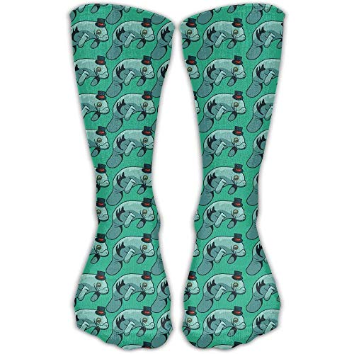 Hat Manatee Printed Men's/Women's Cotton Crew Socks 50cm -